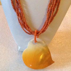 Vintage orange beads Biwa necklace